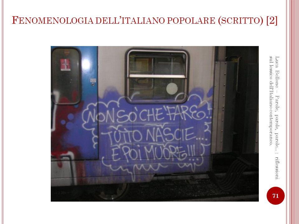 Fenomenologia dell'italiano popolare (scritto) [2]